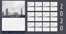 Vector 2020 New Year Calendar Planner Template Table Simple Style Navy Blue And Orange,Holiday Event Planner,Week Starts Sunday.12 Month Layout Annual Calendar