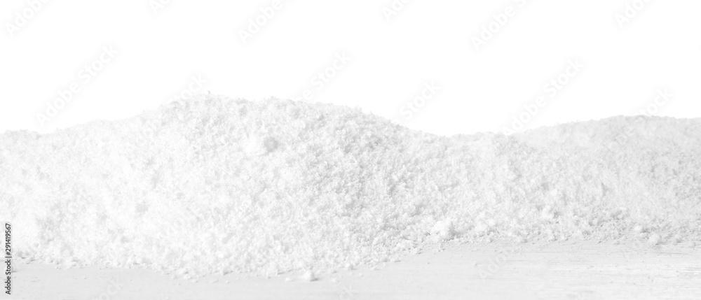 Fototapeta Snow on wooden table against white background. Christmas season