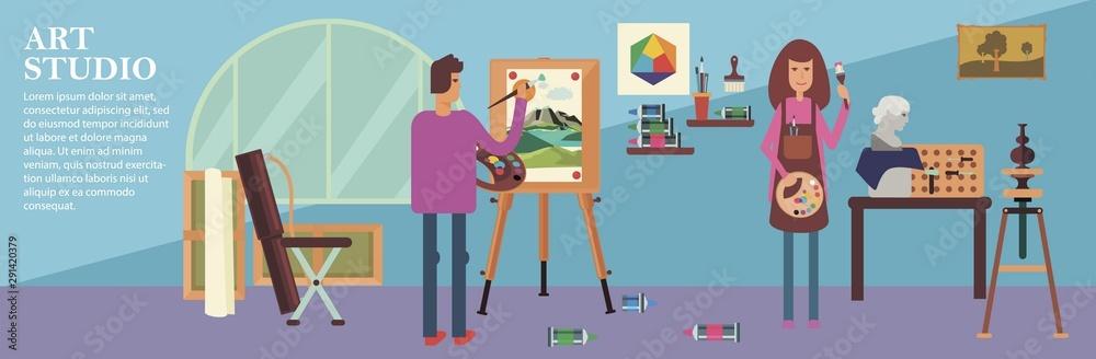 Fototapety, obrazy: Flat Art Studio Background