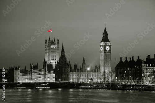 Night view of Westminster Palace over dramatic sunset sky #291420569
