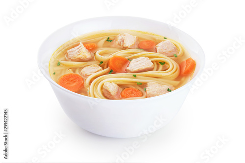 Chicken noodle soup isolated on white background. Canvas Print