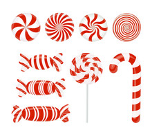 Vector Set Of Red Candies. Caramel, Lollipop, Lollipop, Striped Candy On White