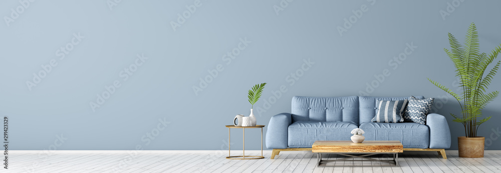 Fototapeta Interior with blue sofa and coffee table 3d rendering
