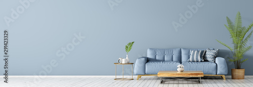 Foto op Aluminium Stof Interior with blue sofa and coffee table 3d rendering