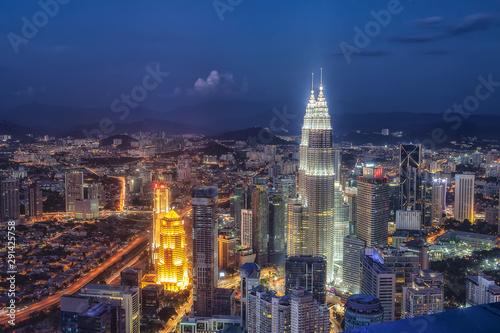 Fotomural  マレーシア・クアラルンプールの夜景