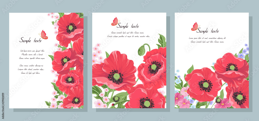 set of business cards with flowers