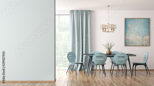 Fotografía  Interior of modern dining room 3d rendering