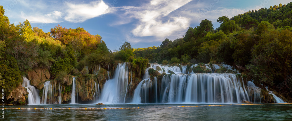Fototapety, obrazy: Krka National Park-panorama of the waterfall against the beautiful evening sky