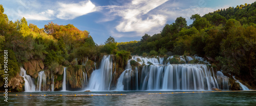 Krka National Park-panorama of the waterfall against the beautiful evening sky - 291428581