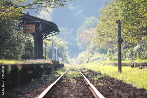 Cuadros en Lienzo ローカル線の駅と線路