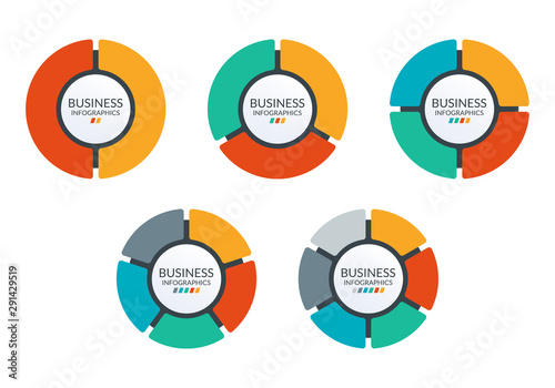 Fototapeta Pie chart set. Colorful diagram collection with 2,3,4,5,6 sections or steps. Circle icons for infographic, UI, web design, business presentation. Vector illustration. obraz
