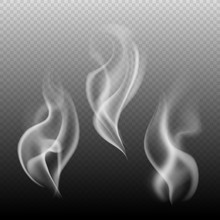 Steam Texture. Sky Fog Or Smog Flames, Abstract Symbol Of Tea And Coffee Hot Cup On Transparent Background Isolated Vector Concept