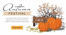 Autumn Festival Web Banner. Pumpkins Next To The Berry Bush.