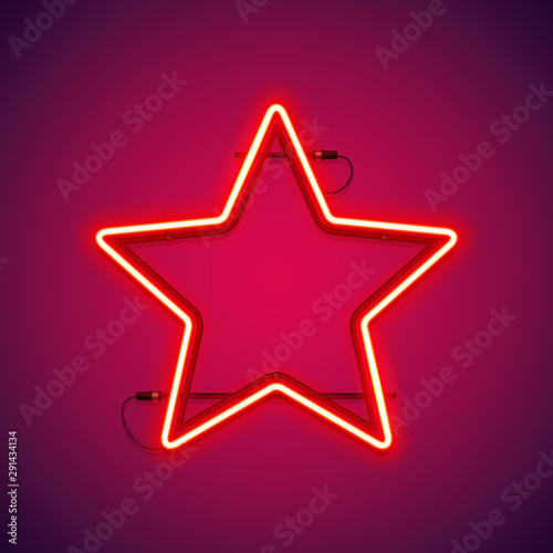 Fotomural  Red neon star shape makes it quick and easy to customize your projects in retro-futuristic style