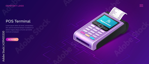 Fototapeta POS terminal business concept vector isometric illustration. Contactless payment security concept, point of sale payment machine with paper check, ultraviolet web banner obraz