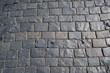 Square granite stones. Stone pavement texture. top view