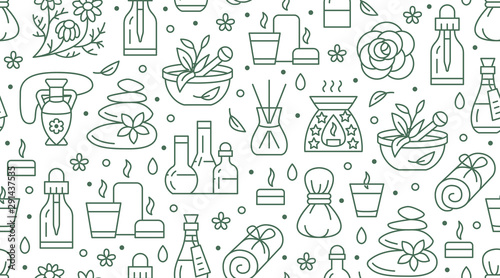 Aromatherapy seamless pattern with vector flat line icons Wallpaper Mural