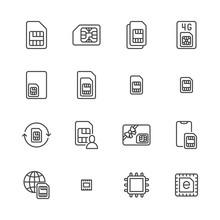 Sim Card Flat Line Icons Set. ...
