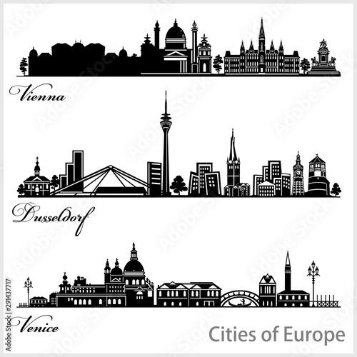 Carta da parati  City in Europe - Vienna, Dusseldorf, Venice