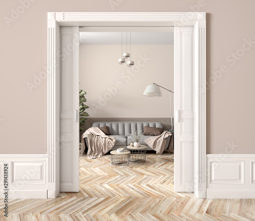 Living room interior with opened doors 3d rendering Canvas Print