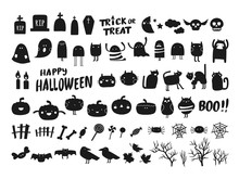 Vector Collection Of Halloween Silhouettes Characters And Icons. Black Halloween Design Elements On White Background