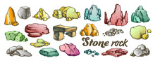 Stone Rock Gravel Collection Color Set Vector. Different Stone, Gravel And Pebble. Natural Rocky Slate Lump Engraving Template Hand Drawn In Retro Style Illustrations