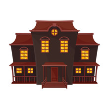 Dark Blue Spooky House With A Brown Roof. Vector Illustration.