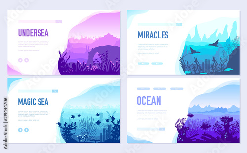 Foto auf AluDibond Weiß dedicated to undersea vector brochure cards set. Coral reef in the ocean template of flyear, web banner, ui header, enter site. Invitation concept background. Layout illustration modern slider page