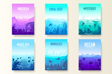 Dedicated To Undersea Vector Brochure Cards Set. Coral Reef In The Ocean Template Of Flyear, Magazines, Poster, Book Cover, Banners. Invitation Concept Background. Layout Illustration Modern Page