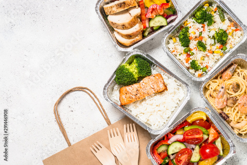 Food delivery concept - healthy lunch in boxes. - 291446908