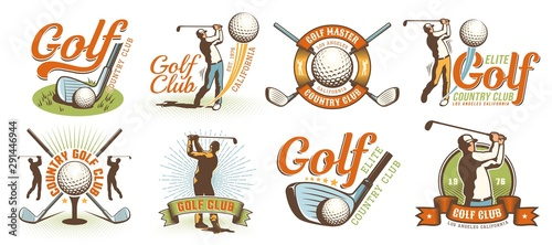 Fotografie, Tablou Golf retro logo with clubs balls and golfer
