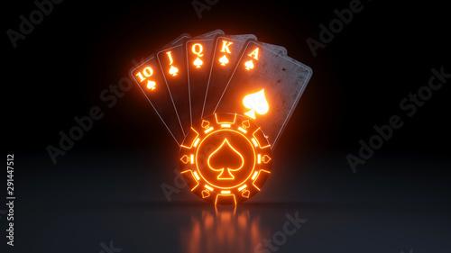 Pinturas sobre lienzo  Casino Gambling Concept Royal Flush in Spades Poker Cards With Neon Lights Isola