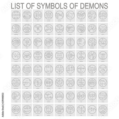 Fotografía Vector set with symbols of demons. Sigils of Demons