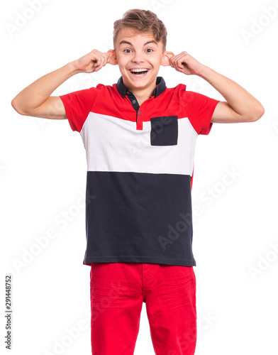 Платно Silly teen boy making grimace - funny monkey face