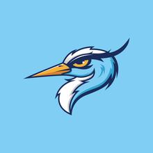 Pelican Head Logo Design In Blue Background
