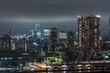Panoramic modern city skyline bird eye aerial view of Tokyo bay under rainy night