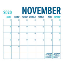 November 2020. Calendar Planner. English Calender Template. Vector Square Grid. Office Business Planning. Creative Design. Blue Color