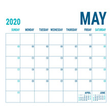 May 2020. Calendar Planner. English Calender Template. Vector Square Grid. Office Business Planning. Creative Design. Blue Color