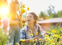 Mother And Daughter Picking Pretty Colourful Flowers In Their Organic Garden With Yellow Lens Flare In Background