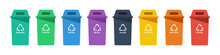 Separation Concept. Set Of Color Recycle Bin Icons In Trendy Flat Style, Isolated On White Background. Green Blue Violet Black Yellow Orange And Red Recycle Bins With Recycle Symbol. Vector