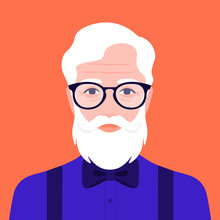 Portrait Of An Old Hipster Man...
