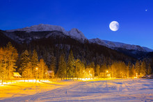 Giewont In Tatra Mountains At Night. Silhouette Of Sleeping Knight.