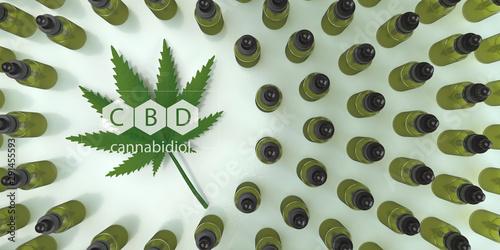 Canvas Prints Textures CBD, Cannabidiol oil bottles with a hemp leaf. 3d illustration.