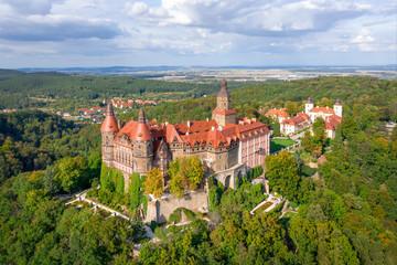 Aerial view of Ksiaz castle near Walbrzych, Silesia, Poland