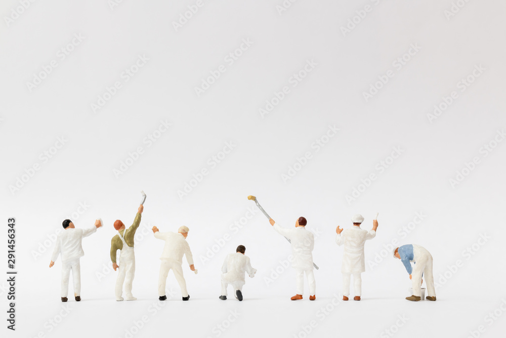 Fototapety, obrazy: Miniature people : Painter holding a brush with  space for text