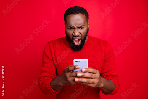Close-up portrait of his he nice attractive irritated annoyed outraged bearded g Wallpaper Mural