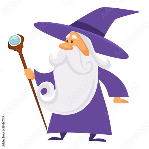 Photo Magician and wizard with scepter, warlock man in robe, isolated character