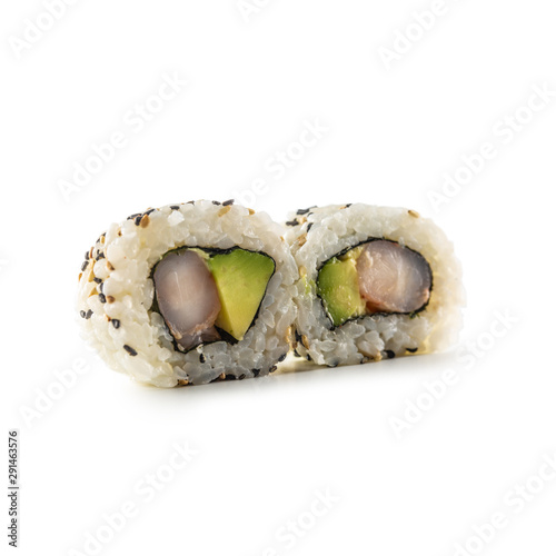 Cuadros en Lienzo Sushi california roll different types isolated on white background