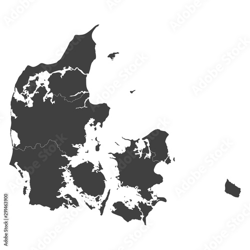 Photo Denmark map with selected regions in black color on a white background