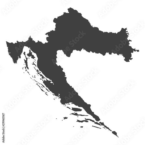 Croatia map in black color on a white background Canvas Print